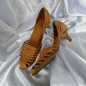 AEROSOLES low heel slip-on sandals khaki brown